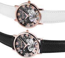 Damen Armbanduhr Rosègold/Blumenmuster mit weißem oder schwarzem Armband wählbar