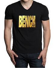 Men's Gold Foil Grunge Bench V-Neck Black T Shirt Beast Gym Fitness Workout Tee