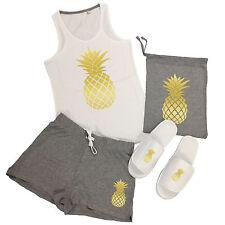 Pineapple Vest Top & Shorts Pyjamas Set - Fresh Fruit PJs + Add Slippers Option