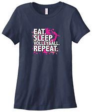 Threadrock Women's Eat Sleep Volleyball Repeat T-shirt Volley Ball