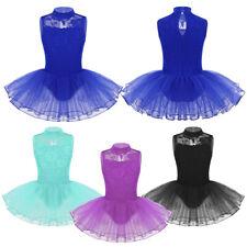 Mädchen Spitze Ballettkleid mit Stehkragen Ballettanzug Kinder Ballettbekleidung