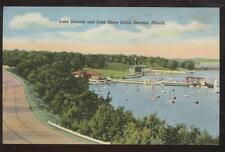 Postcard DECATUR,Illinois/IL   Lake Shore Boat Docks Bird's Eye Aerial view