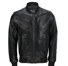 Mens Black Soft Real Leather Vintage Collar Bomber Style Biker Jacket