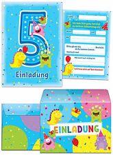 Einladungskarten Mit Umschlägen Zum 5. Geburtstag Junge Mädchen Blau