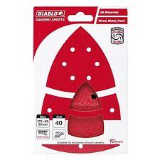 Diablo ABRASIVE DETAIL SANDER SHEETS 102x62mm 10Pcs Red- 40, 80, 120 Or 240 Grit
