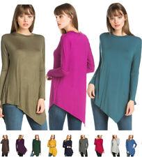 USA Women Round Neck Long Sleeve Shirt Tunic Top Asymmetrical Hem Loose S M L XL