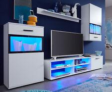 Wohnwand weiß Wohnzimmer Anbauwand Vitrinen mit Glasfront schwarz 230 cm Swing