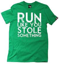 Corre como te robaste algo para hombres Moda Camiseta Cumpleaños Gracioso Gimnasio Correr