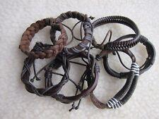 or Plait Wrist Bracelets. Men's Brown Leather Braided