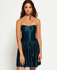 New Womens Superdry 50'S Jacquard Luxe Dress Metallic Aqua