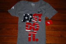 NEW Women's Nike Olympic Team USA Stars & Stripes Gray T-Shirt (XS S M L)