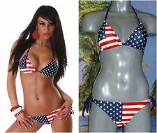 Triangel Push Up Bikini USA Flagge Stars & Stripes Amerika blau rot weiss NEU
