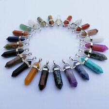 20/50Pcs Natural Gemstone Hexagonal Point Reiki Chakra Healing Pendant Necklace