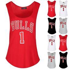 Women Ladies Sleeveless Bulls 1 Curved Hem Slogan Print Sports Gym Tank Vest Top