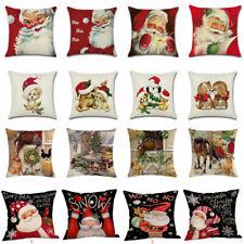 """18""""Xmas Christmas Cushion Cover Santa Linen Pillow Case Merry Claus Home Decor"""