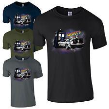 Tardis DeLorean Crash T-Shirt - Back to the Future Doctor Who Fan Gift Mens Top