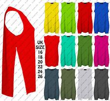 New Ladies High Split Side Long Top Women Jersey Slit Tunic Tank Vest Plus Sizes