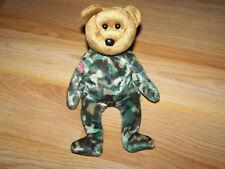 TY Beanie Baby Hero American Flag Camo Camouflage Bear Bean Bag Plush 2003 EUC