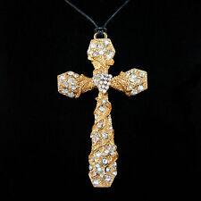 XXL Kreuz Anhänger Gold Silber Strass Klar Wachskordel Gothic Cross