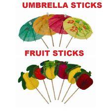 Umbrella +FRUIT Paper Cocktail Food Stick Pick Decoration Summer Hawaiian Party