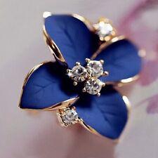 Gold Plated Crystal Blue Leaf Flower Drop Stud Hoop Women Earrings Girls Jewelry