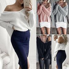 Damen One Shoulder Chunky Stricken Baggy Pullover Jumper Tops Sweatshirt Pulli