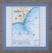 Framed NC Cape Fear Fryng Pan Shoals Shipwreck Chart - Nautical Art Print