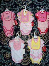 Puma Bodysuits Bib 3pc Set Baby Girls 0-3 3-6 6-9 Mos Pink Red White New