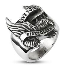 Biker Ring Live to Ride Adler Eagle Massiv Motorrad Rocker Edelstahl silber