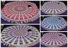 Ethnic Indian Round White Mandala With Tassel Yoga Mat Hippie Wall Hanging Throw