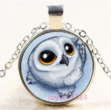 Cute Owl Cabochon Silver/Bronze/Black/Gold Glass Chain Pendant Necklace #6931