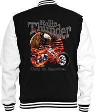 Biker Sweat College Jacke Rolling Thunder Motor Bike Racing USA