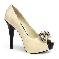 Pin Up Couture LOLITA-10 Women's Beige Suede Pu High Heel Peep Toe Platform Pump