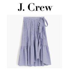J CREW Ruffle Wrap Skirt Shirting Stripe G5300 G6844 REGULAR PETITE *SOLD OUT*