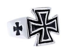 Chevalière Bague en Acier Inox Croix de Fer Ek