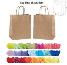 10 Kraft FAUVE papier sac cadeau & tissu - recyclable Twist anse soirée