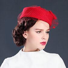 Womens GATSBY Pillbox Hat Womens Fascinator wool Felt Wedding Royal Ascot A080
