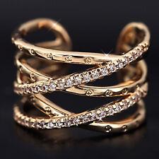 18K ROSE WHITE GOLD GF KISS CROSS INFINITY COCKTAIL DRESS RING SIMULATED DIAMOND