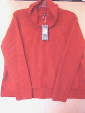 BNWT $298 Eileen Fisher Supersoft Yak Merino Rib RED POPPY Boxy Sweater S M XL