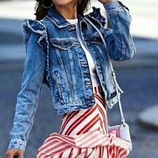 9868213e6d3d4 ZARA Woman Denim Jeans Short Cropped Jacket Puff Sleeves Shoulders Ruffles  Med M
