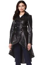 Damas abrigo de vuelta con Cordones Gótico Cuero Negro   Moda Abrigo de Cuero Suave 3492
