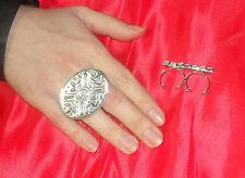 anello doppio dito OVALE BIZANTINO PL ARGENTO made in italy
