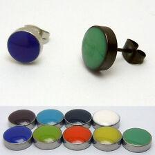 1 Paar farbige Ohrstecker Ohrring Edelstahl Fakeplugs Fake Plug Herren Schmuck