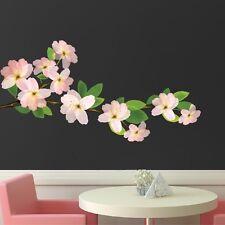 Beautiful Flower Branch Wall Decal Floral Vinyl Customizable Outdoor Art, s96