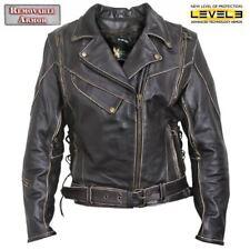 Xelement XS1978 Women's Antique-Brown Rub-Off Motorcycle Jacket