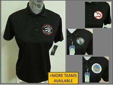 New Sz S-3X Black Solid NBA Womens Performance Polyester #76K Polo Shirt