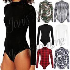 New Ladies Women Polo Turtle Neck Plain Printed Bodysuit Long Sleeve Leotard Top
