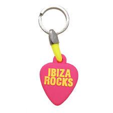 OFFICIAL Ibiza Rocks: Plectrum Logo PVC Rubber Keyring Key Chain Fob Pink Black