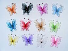 6 x 6cm Mardi Gras, Mesh, glitter, gem Butterflies assorted colours