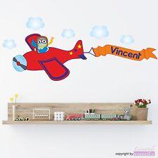 WANDTATTOO Eule Paul Pilot Flugzeug Wolken Flieger Junge Wandsticker